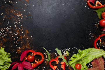 vegetables and spices. food ingredients on dark background. copy space. kitchen creativity