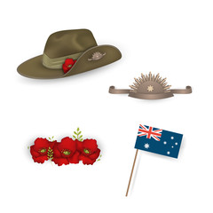 Set of australian flag, Anzac australian army slouch hat with red poppy, Decorative anzac poppies flowers isolated. Design elements for Anzac Day or Remembrance Armistice Day.