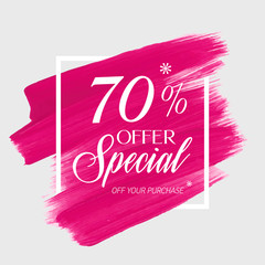 Sale special offer 70% off sign over art brush acrylic stroke paint abstract texture background poster vector illustration. Perfect watercolor design for a shop and sale banners.