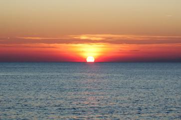 Beautiful sea & sunset over sea horizon landscape in nature background.