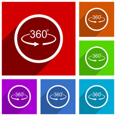 Panorama 360 vector icons. Flat design colorful illustrations for web designers and mobile applications in eps 10