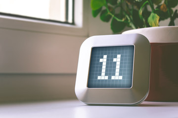 The Number 11 On A Digital Calendar, Thermostat Or Timer