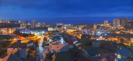 Night panorama of the microdistrict Mamaika. Sochi, Russia