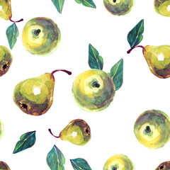 Seamless background with apples and pears painted watercolor.