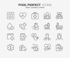 medical care thin line icons 1