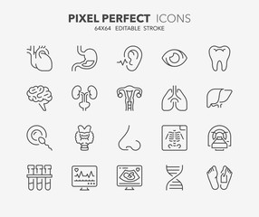 medical care thin line icons 2