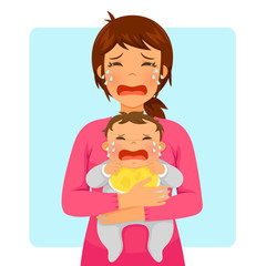 Young mother crying while holding her crying baby