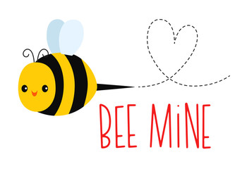 Vector illustration of a cute smiling bee with a heart shape and a Valentine's Day message