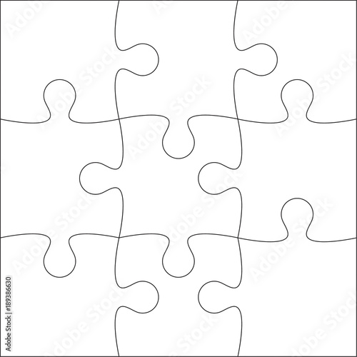 Jigsaw Puzzle Blank Template Or Cutting Guidelines Of 9 Pieces Plain White On Background Vector Ilration
