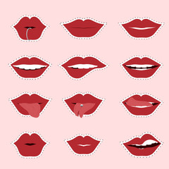Red woman's lip icons set isolated on light background. Vector lips illustration for modern design.