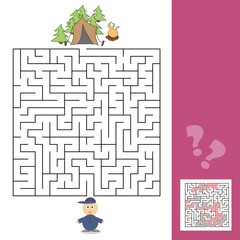 Game template with children camping - illustration with answer