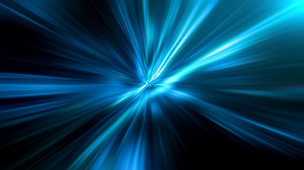 Wall Mural - Acceleration speed motion on night road. Abstract blue background, beautiful lines and blur. 3d Illustration