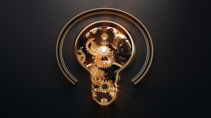 Conceptual image with shine light bulb and gears inside. Concept of idea and innovation. 3d illustration