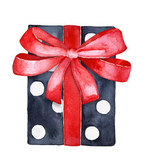 Holiday gift box, black and white contrast paper with spots and red satin ribbon decoration. One single element, top view, square form. Hand drawn water color illustration, white background, cut out.