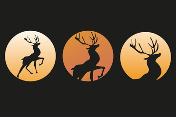 a deer at sunset. Emblem, logo icon.