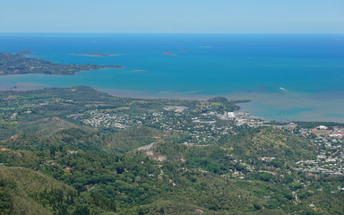Aerial view, Boulary and Saint-Michel district, Noumea city, southwest coast of Grande Terre, New Caledonia, south Pacific ocean