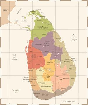 Sri Lanka Map - Vintage Detailed Vector Illustration