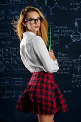 girl in checkered skirt
