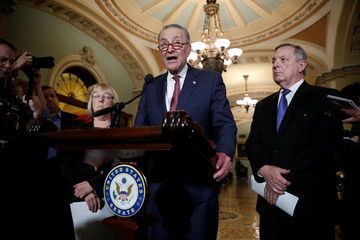 Senate Minority Leader Chuck Schumer, accompanied by Sen. Dick Durbin (D-IL) and Sen. Patty Murray (D-WA), speaks with reporters following the party luncheons on Capitol Hill in Washington