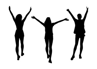 Joy woman silhouettes