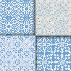 Collectiom seamless pattern arabic style in blue color. Can be used for gift wrap, background, backdrop, textile