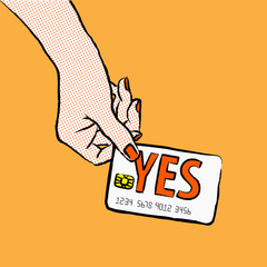 Customer want to buy and say yes to salesperson. Image of a hand purchasing with credit card fom the upper left corner
