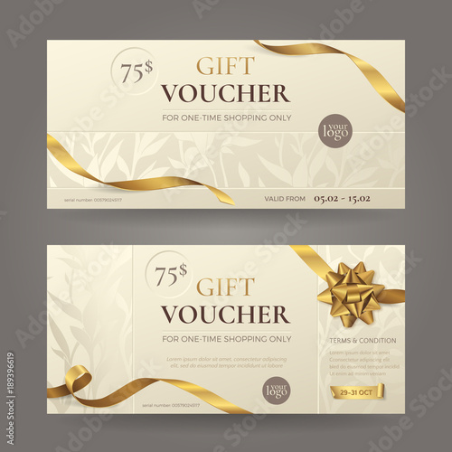 Set Of Stylish Gift Voucher With Golden Ribbons A Bow And Floral