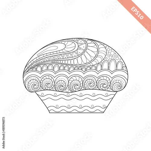 Cartoon Hand Drawn Cupcake With Fl Doodle Ornament Coloring Page Book Ornate Black Line
