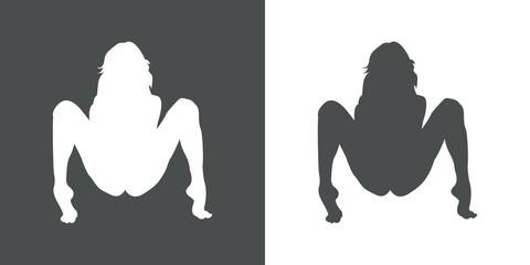 Icono plano silueta chica desnuda agachada gris y blanco