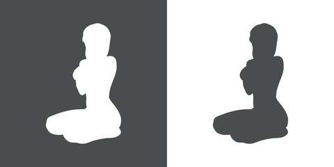 Icono plano silueta chica desnuda arrodillada gris y blanca