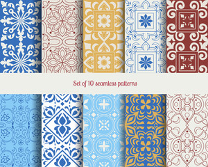 Collectiom 10 seamless pattern arabic style. Can be used for gift wrap, background, backdrop, textile