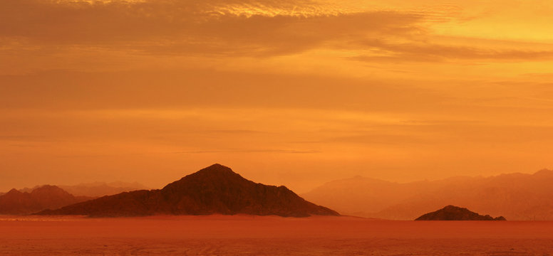 Red planet. Sunset on Mars