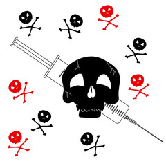 Pattern with the image of Jolly Roger with a syringe. Precaution from drugs. Vector illustration
