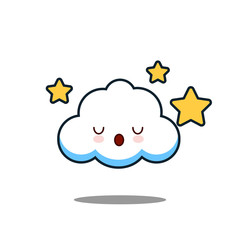 Cute cloud Cartoon Kawaii Character face with star on White Background Flat design Vector Illustration EPS