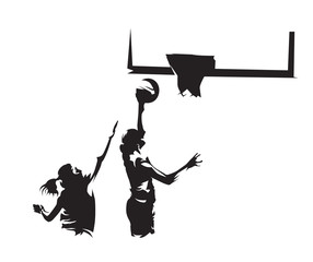 Basketball player shoots ball on the basket, the other defends. Abstract vector silhouette