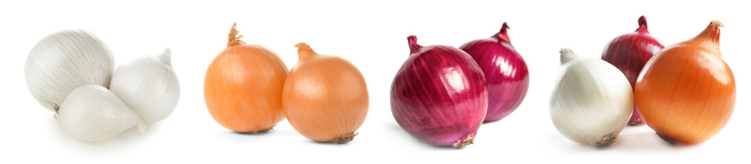 Ripe onions on white background