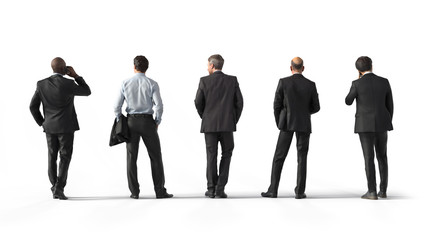 Back view of standing business men. Illustration on white background, 3d rendering isolated.