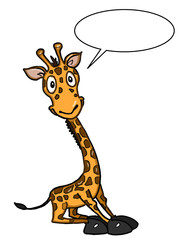 cute giraffe illustration cartoon and white background and speaking