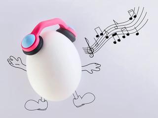 sing a song happily, fresh eggs in headphones