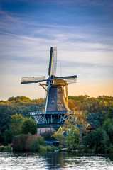 Foto op Canvas Molens Dutch Windmill Kralingen, Rotterdam, Holland
