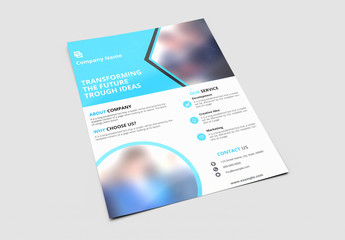 Business Brochure Layout with Blue Diagonal Headers 1