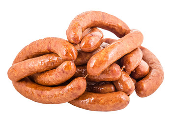 different kinds of sausages for a picnic, juicy, flavorful, appetizing, with a beautiful structure of chicken, pork, veal, beef, with pieces of bacon, in yellow, red, orange package and without, isola