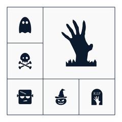 Zombie hand icon halloween set simple vector sign