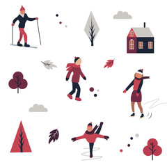 Winter sport pattern with different characters, elements