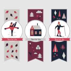 Winter sports banners with different characters