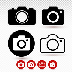Set of camera icon. Modern simple snapshot photography sign. Instant photo internet concept. Symbol for website design, web button, mobile app. Vector illustration. Isolated on transparent background