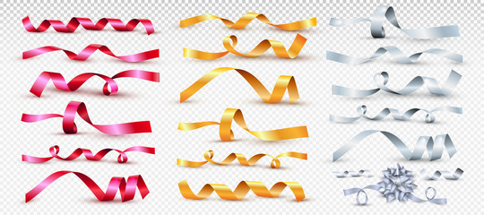 Set of red, gold and silver satin ribbon. For greeting cards and invitations of the wedding, birthday, Valentine's Day, mother's day. Vector illustration of curved tape