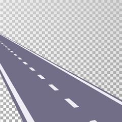 Curved road asphalt with white markings on a transparent background. Vector illustration