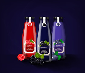 Realistic glass bottle set advertising template of blueberry, raspberry and blueberry juice, drink mock-up isolated.