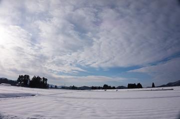 秋田県 雪景色 冬 青空